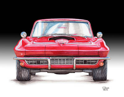 Chevy Drawing - 1967 Chevy Corvette Stingray by Shannon Watts