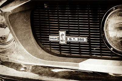 Art Print featuring the photograph 1967 Ford Gt 350 Shelby Clone Grille Emblem -0759s by Jill Reger