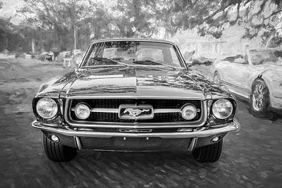 Photograph - 1967 Ford Mustang Coupe Bw C122 by Rich Franco