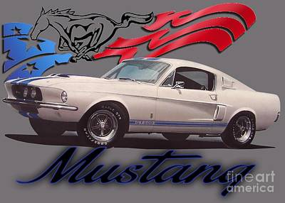 Race Horse Digital Art - 1967 Ford Mustang by Paul Kuras