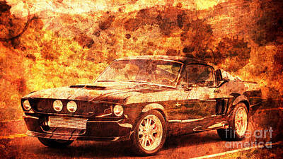 Shelby Artwork Painting - 1967 Ford Mustang Shelby Gt500, Gift For Men, Office Decoration by Pablo Franchi