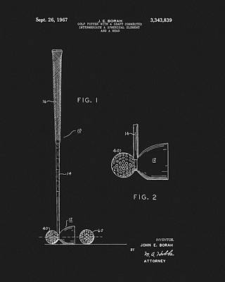Drawing - 1967 Golf Putter Patent by Dan Sproul