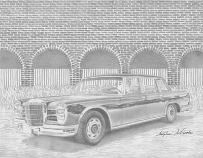 Mercedes Automobile Drawing - 1967 Mercedes Benz 600 Sedan Classic Car Art Print by Stephen Rooks