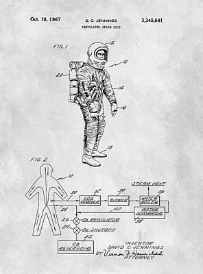 Interstellar Space Drawing - 1967 Nasa Space Suit by Dan Sproul