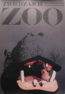 1967 Original Polish Zoo Poster, Hippo Original by Waldemar Swierzy