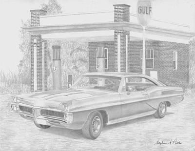 Pontiac Drawing - 1967 Pontiac Bonneville Classic Car Art Print by Stephen Rooks