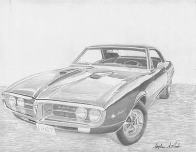 Pontiac Drawing - 1967 Pontiac Firebird 400 Classic Car Art Print by Stephen Rooks