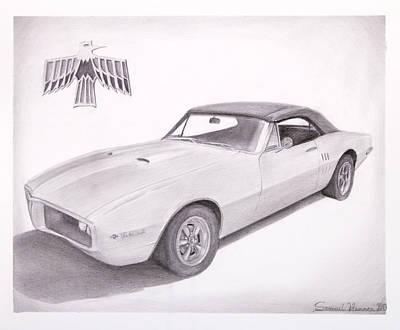 Pontiac Drawing - 1967 Pontiac Firebird Professional Drawing by Samuel Hannon