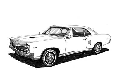 Car Art Drawing - 1967 Pontiac G T O by Jack Pumphrey