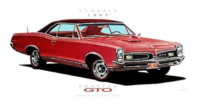 Pontiac Drawing - 1967 Pontiac Gto  by Brian Roland