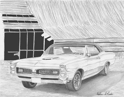 Pontiac Drawing - 1967 Pontiac Gto Muscle Car Art Print by Stephen Rooks