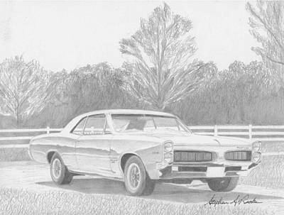 Pontiac Drawing - 1967 Pontiac Tempest Muscle Car Art Print by Stephen Rooks