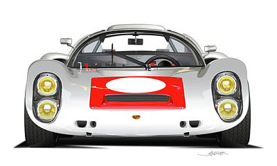 Drawing - 1967 Porsche 910 Illustration by Alain Jamar