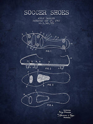 Soccer Drawing - 1967 Soccer Shoe Patent - Navy Blue - Nb by Aged Pixel