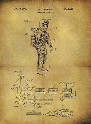 Interstellar Space Drawing - 1967 Space Suit Patent by Dan Sproul