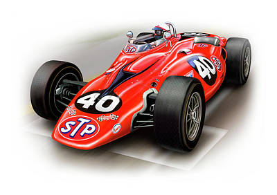 Indy Car Digital Art - 1967 Stp Turbine Indy 500 Car by David Kyte