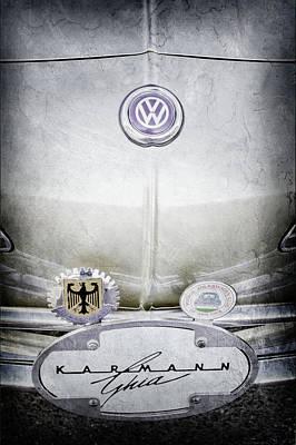Karmann Photograph - 1967 Volkswagen Vw Karmann Ghia Emblems -0058ac by Jill Reger