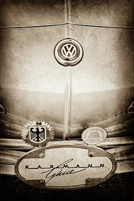 Karmann Photograph - 1967 Volkswagen Vw Karmann Ghia Emblems -0058s by Jill Reger