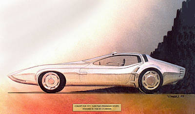 Vintage Car Drawing - 1968 Barracuda Vintage Styling Design Concept Sketch by John Samsen
