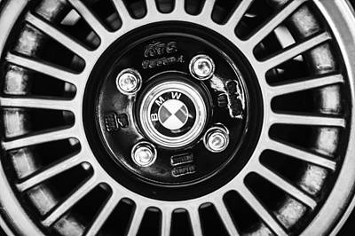 Photograph - 1968 Bmw 1600 Cabriolet 2.0l 5-speed Wheel Emblem -0138bw by Jill Reger