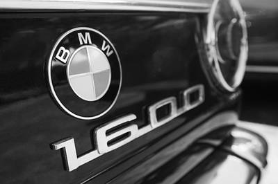 Photograph - 1968 Bmw 1600 Cabriolet Tail Light Emblem -0154bw by Jill Reger