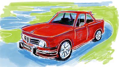 Sportscar Drawing - 1968 Bmw 2002 Tii by Robert Yaeger