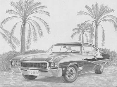 Buick Drawing - 1968 Buick Skylark Gs Muscle Car Art Print by Stephen Rooks
