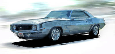1968 Camero Ss Speed Art Print by Larry Helms