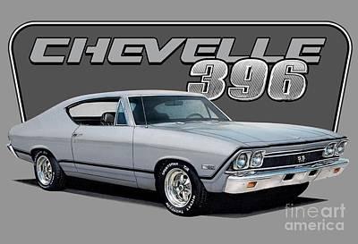 Chevrolet Drawing - 1968 Chevrolet Chevelle by Paul Kuras