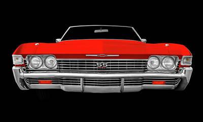 Photograph - 1968 Chevrolet Impala Front End Detail  -  68ss427impalacvfrtdetaildark183799 by Frank J Benz