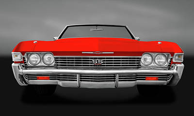 Photograph - 1968 Chevrolet Impala Front End Detail  -  68ss427impalafrtdetailgry183799 by Frank J Benz