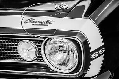 1968 Camaro Photograph - 1968 Chevrolet Yenko Super Camaro Hood Emblem -1785bw by Jill Reger