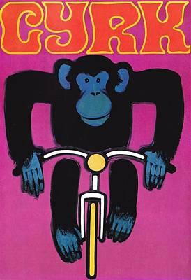 Ape Digital Art - 1968 Cyrk Cycling Chimpanzee Polish Circus Poster by Retro Graphics