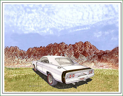 Chargers Drawing - 1968 Dodge Charger R T by Jack Pumphrey