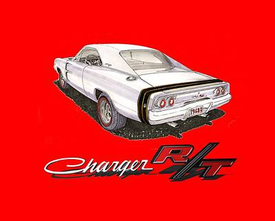Painting - 1968 Dodge Charger Tee Shirt by Jack Pumphrey