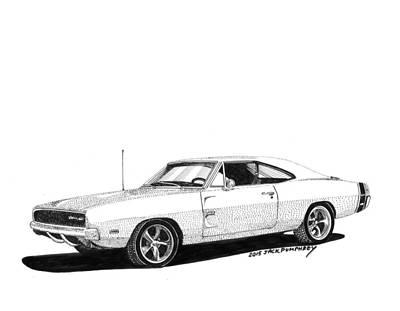 Fine Line Drawing - Dodge S R T 1968 by Jack Pumphrey