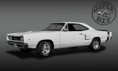 Photograph - 1968 Dodge Super Bee 2 Door Coupe  -  1968dodgesuperbeeblkwhi173415 by Frank J Benz