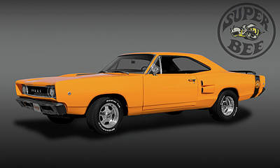 Photograph - 1968 Dodge Super Bee 2 Door Coupe  -  1968superbeelogobw173415 by Frank J Benz