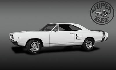 Photograph - 1968 Dodge Super Bee 2 Door Coupe  -  1968superbeelogobw173419 by Frank J Benz