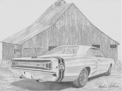 Super Cars Drawing - 1968 Dodge Super Bee Muscle Car Art Print by Stephen Rooks