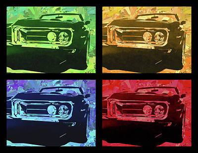 Digital Art - 1968 Firebird Pop Quad by David King