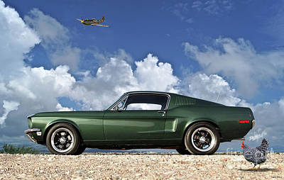 Los Angeles Dodgers Mixed Media - 1968 Ford Bullitt Mustang Gt 390 Fastback, P-51 Mustang, Plymouth Rock Chicken by Thomas Pollart