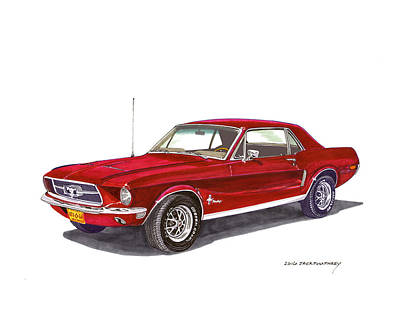 Mustang Car Painting - 1968 Ford Mustang Coupe by Jack Pumphrey