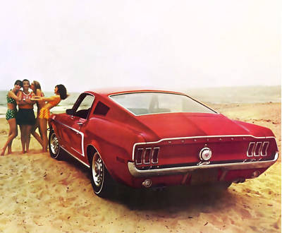 Photograph - 1968 Ford Mustang Gt 2 Plus 2 Lifes A Beach by R Muirhead Art