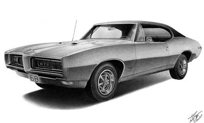 Pontiac Drawing - 1968 Gto by Lyle Brown