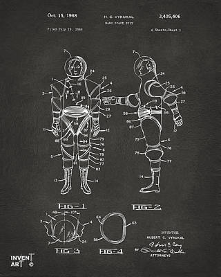 Historic Home Drawing - 1968 Hard Space Suit Patent Artwork - Gray by Nikki Marie Smith