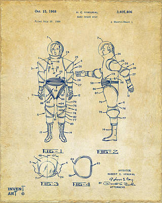 Space Ships Drawing - 1968 Hard Space Suit Patent Artwork - Vintage by Nikki Marie Smith