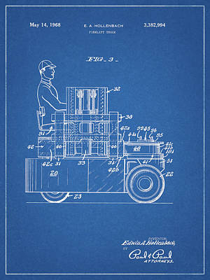 Truck Mixed Media - 1968 Lift Truck Patent by Dan Sproul