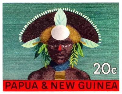 Guinea Wall Art - Digital Art - 1968 Papua New Guinea Headress 20c Postage Stamp by Retro Graphics