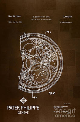 Brown Swiss Drawing - 1968 Patek Philippe Patent 2 by Nishanth Gopinathan